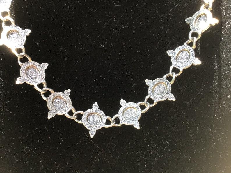 Vintage Black Onyx Silver-tone Necklace Metal Tag Avenue  tm