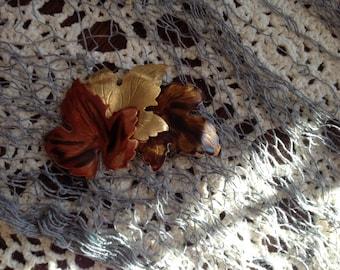 Vintage Brooch Three Tone Autumn Colored Leaves