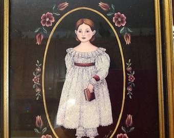 Victorian Print Young Girl By Arlene B. Kaminsky Signed