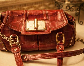 Croco Embossed Leather Satchel Red