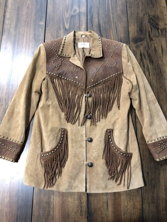 Scully Studded Leather and Suede Twisted Fringe Ja