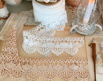 Scallop Lace trim Venice Cluny lace crochet trim by the yard