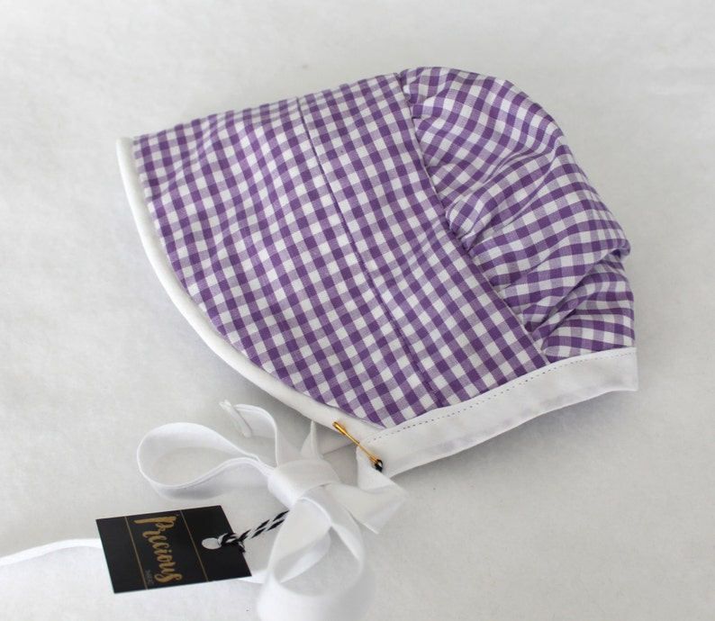 Reversible Bonnet Sunbonnet 0-3m Sun hat Purple Gingham with Black and White Floral