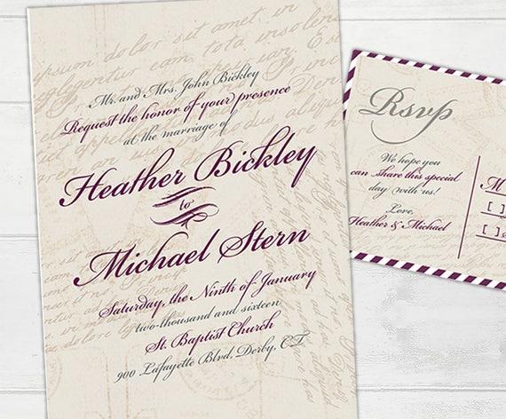 Vintage Love Letter Wedding Invitation Megan Elizabeth Etsy