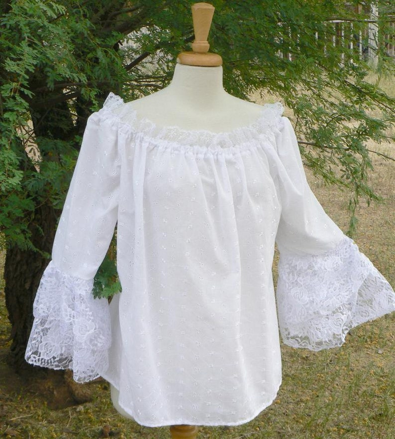 Renaissance Chemise Peasant Blouse Lace Sleeves Embroidered image 0