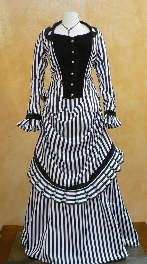 Steampunk Wedding Dresses | Vintage, Victorian, Black Steampunk Striped Bustle Gown Victorian Historical Costume Dress with Velvet Train $465.00 AT vintagedancer.com