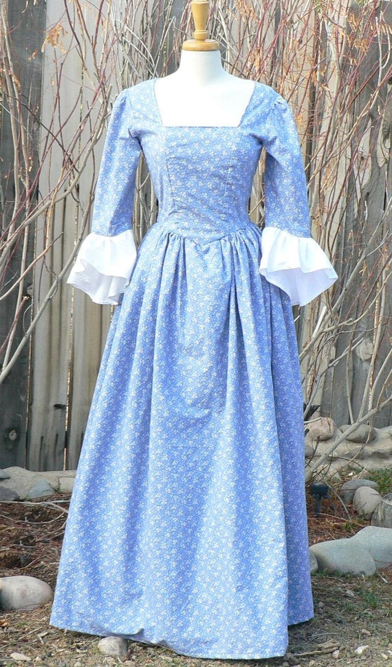 Colonial 18th Century Dress Cotton Historical Day Gown Floral   Etsy