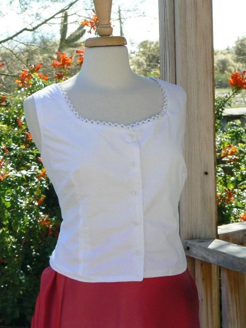 Victorian Lingerie – Underwear, Petticoat, Bloomers, Chemise Little Cotton Camisole Western Cami Cowboy Blouse $49.00 AT vintagedancer.com
