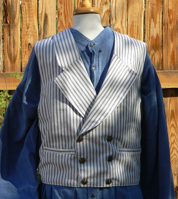 Victorian Mens Cowboy Vest Double Breast Regency Waistcoat Cotton Twill Western Historical