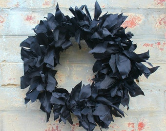 Black dupion silk wreath