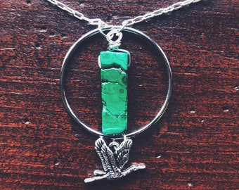 Malachite and Heron Transformation, and 'Go Your Own Way' Necklace - Reiki Infused