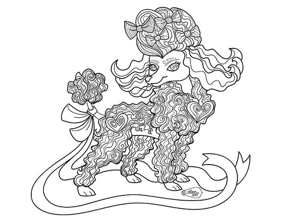 Toys r us coloring pages ~ Cute Frilly Toy Poodle Adult Coloring Page Digital Stamp ...