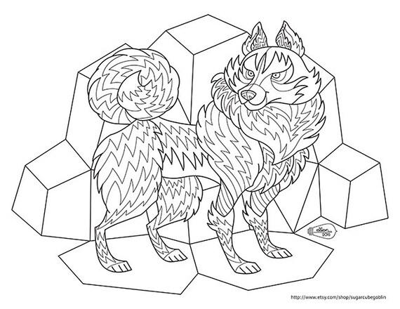 Frosty Husky Adult Coloring Page Digital Stamp Etsy