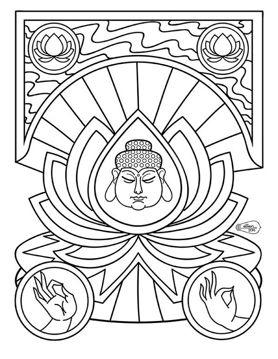 Buddha Inside Lotus Flower Adult Coloring Page Digital Stamp Etsy