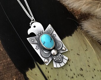 Turquoise Thunderbird Necklace, Turquoise necklace, Thunderbird Necklace
