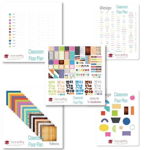 Classroom Floor Plan Collection Digital Planner Goodnotes Etsy