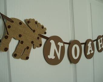 Moose Name Banner, Burlap Moose and Cardstock Name Banner, Personalized Banner, Boys Baby Shower Banner, Burlap, Brown, White