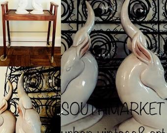 Rare Vintage Roselane Bookends.1950s Antelope California Pasadena California Ceramic.