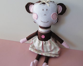 Homemade stuffed fabric brown toy monkey for girls