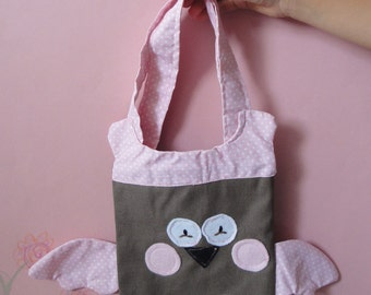 Brown pink cotton owl bag for girls