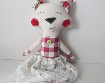 Doll fabric toy cat with ckeckered body and lace skirt