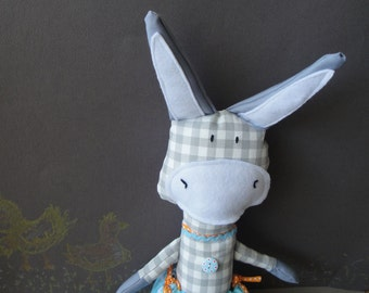 Homemade soft stuffed grey checkered fabric toy donkey for children