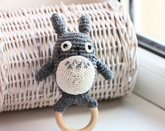 My neighbor Totoro, Crochet Totoro, Totoro Baby, Totoro plush, Wooden teether, Baby Teething Toy, Totoro Lovers, Ghibli Studio, Christmas