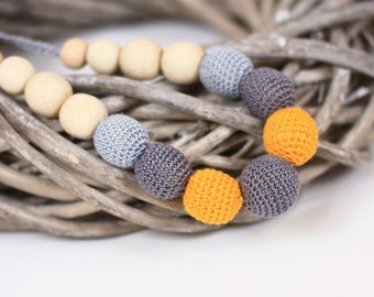 Nursing necklace, Organic Breastfeeding necklace, Grey Yellow crochet jewelry