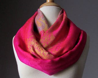 Spring scarf, rainbow scarf, ombre scarf, silky scarf, pashmina, gift for her, Intense Pink