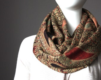 Winter scarf,  warm scarf, Fall scarf, paisley scarf, brown scarf, winter accessories