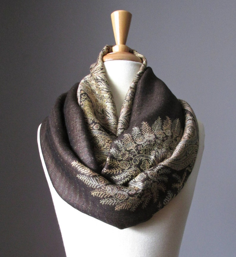 0d8c8a93f53 Festival Shawl, Infinity Scarf, Chocolate brown, Paisley pashmina