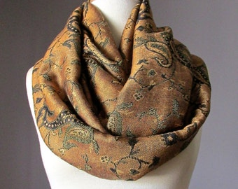 Copper scarf, Statement infinity scarf, Spring accessories, Gift for her mom girlfriend teacher, Pashmina