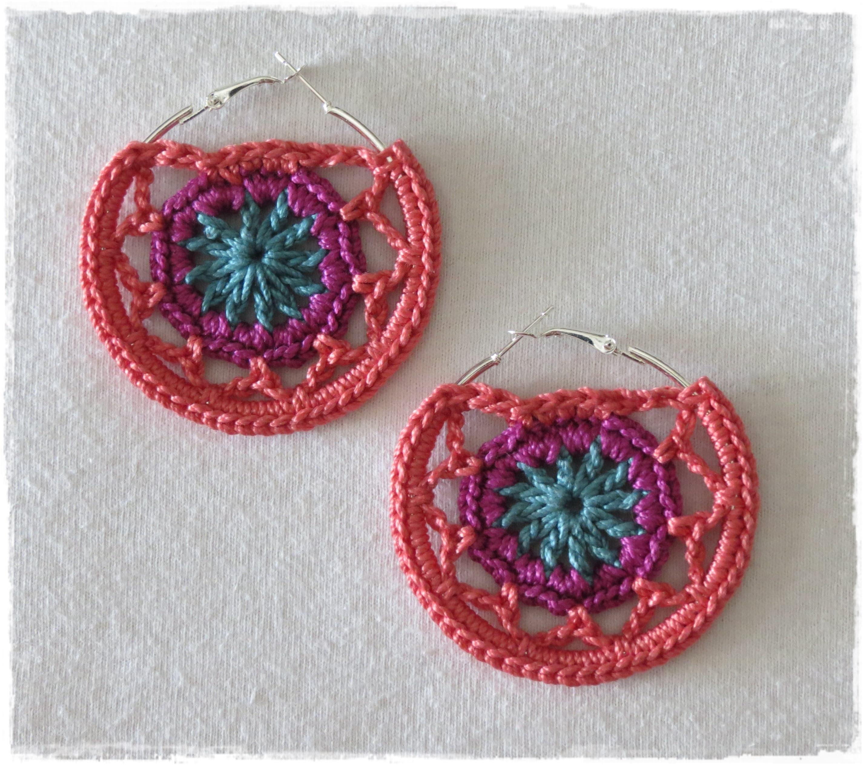 Crochet Hoop Earrings Dreamcatcher Earrings Mandala Hoop Etsy