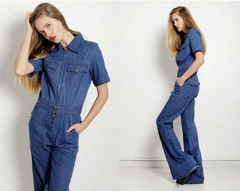 277c0c74482c Vintage 1970s Jumpsuit Navy Jean Denim Bell Bottom Deadstock M