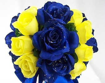 Royal blue bridal bouquet royal blue wedding flowers fake etsy navy blue and yellow wedding bouquets wedding flowers royal blue yellow wedding blue and yellow mightylinksfo