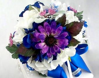 Royal blue bridal bouquet, Royal blue wedding flowers, Fake flowers, Silk flowers, Artificial flowers, Royal blue and white wedding bouquets