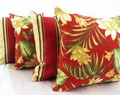Red outdoor pillow set, Bench cushions chair seat cushions pillows, Wicker sets Patio set of 4 package lot four decor sofa couch living