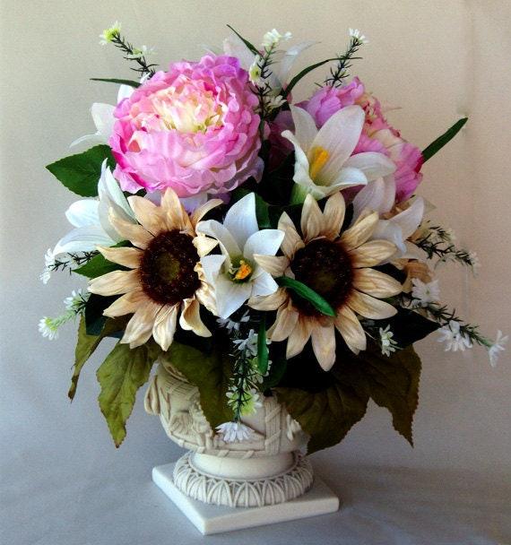 Silk Flower Sunflower Peonies Arrangement Dining Room Table Etsy