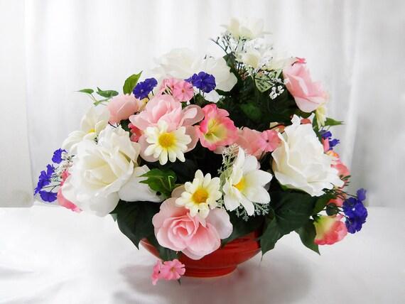 Silk arrangement pink white roses flower arrangement etsy image 0 mightylinksfo