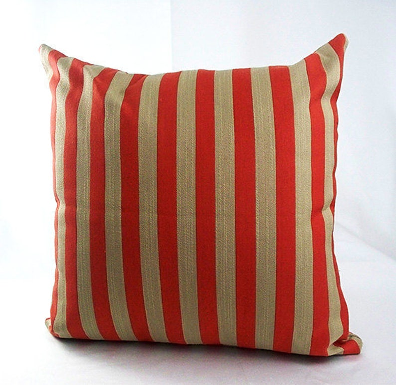 Red Striped Pillow Covers Brown And Orange Burnt Orange Etsy