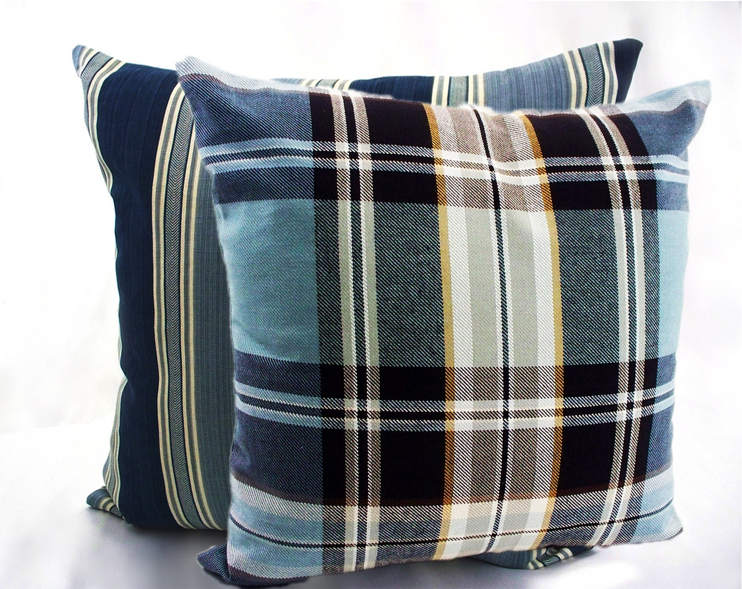 Striped pillow covers welt cord piping