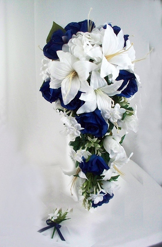 Navy blue wedding bouquet cascading bridal bouquet navy blue etsy image 0 mightylinksfo
