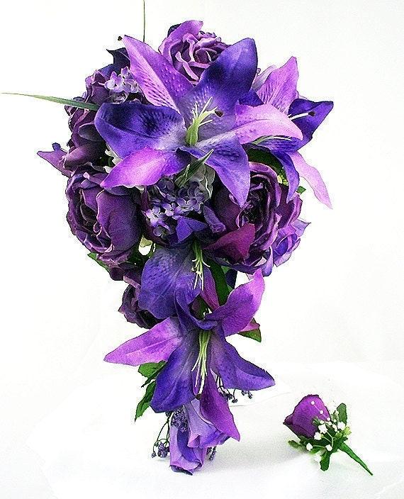 Mazzo Di Fiori Viola.Bouquet Di Fiori Viola Fiori Matrimonio Viola Viola Bouquet Etsy