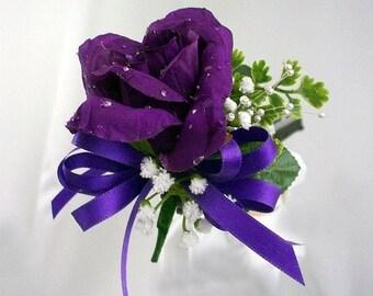 Purple rose corsage, Silk flowers, Corsage purple, Purple flower corsage, Mother of the bride, Purple pin corsage, Purple wedding party