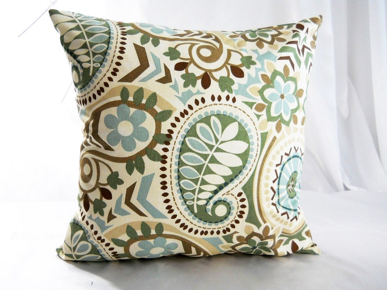 Waverly Decorative Pillow Covers Designer Blue Brown Ivory Etsy