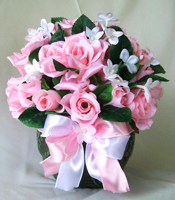 Silk flowers floral centerpiece flower arrangement pink etsy image 0 mightylinksfo