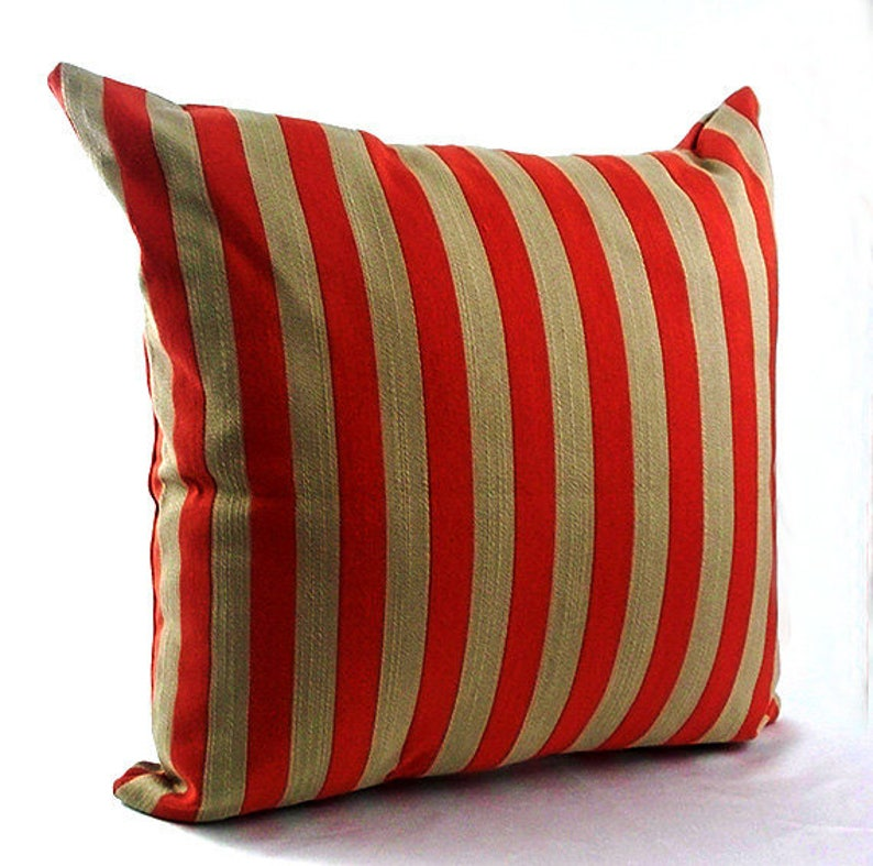 Red Striped Pillow Covers Brown And Orange Throw Pillows Etsy