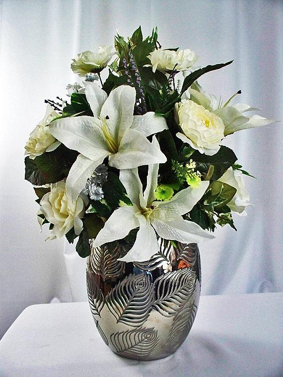 Silk flowers floral arrangement floral centerpiece white etsy image 0 mightylinksfo