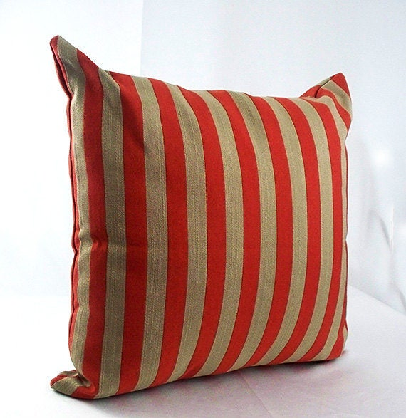 Decorative red striped throw pillow covers pillowcases cushions t brown  burnt orange couch, Throw pillows stripes cushions sofa home decor