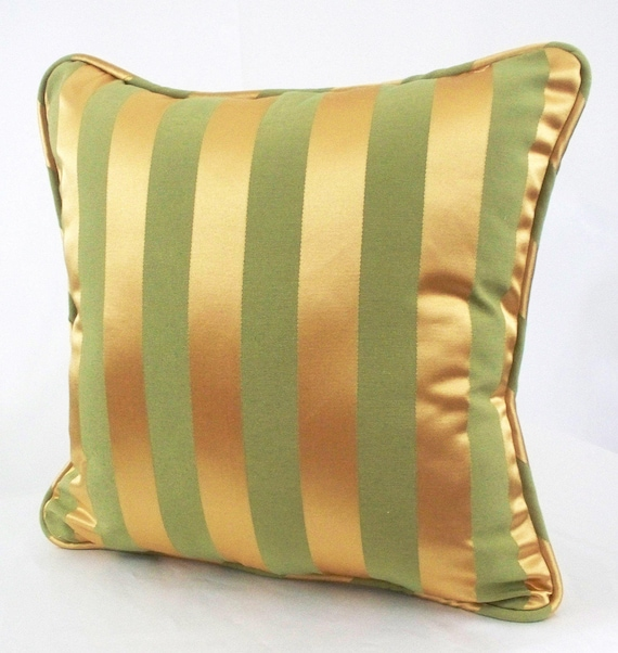 Remarkable Gold Pillow Case Gold Striped Throw Pillow Gold Pillow Cover 18 X 18 Green Stripe Gold Couch Pillow Pillow Covers Metallic Yellow Welt Gmtry Best Dining Table And Chair Ideas Images Gmtryco